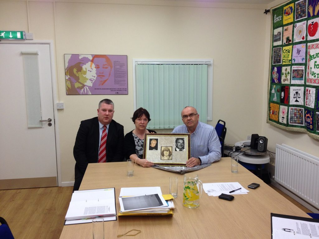 L-R Fearghal Shields Madden and Finucane, Anne Wiggins, Leo Norney's sister, Paul Butler RFJ